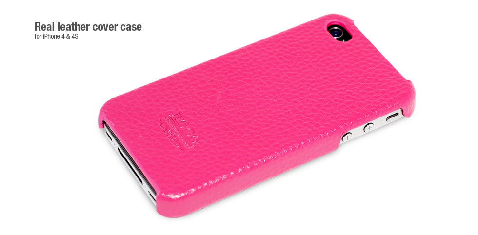 Фото: Чехол HOCO для iPhone 4/4S, Real Leather Cover Case, Pink (HI-BL001P)