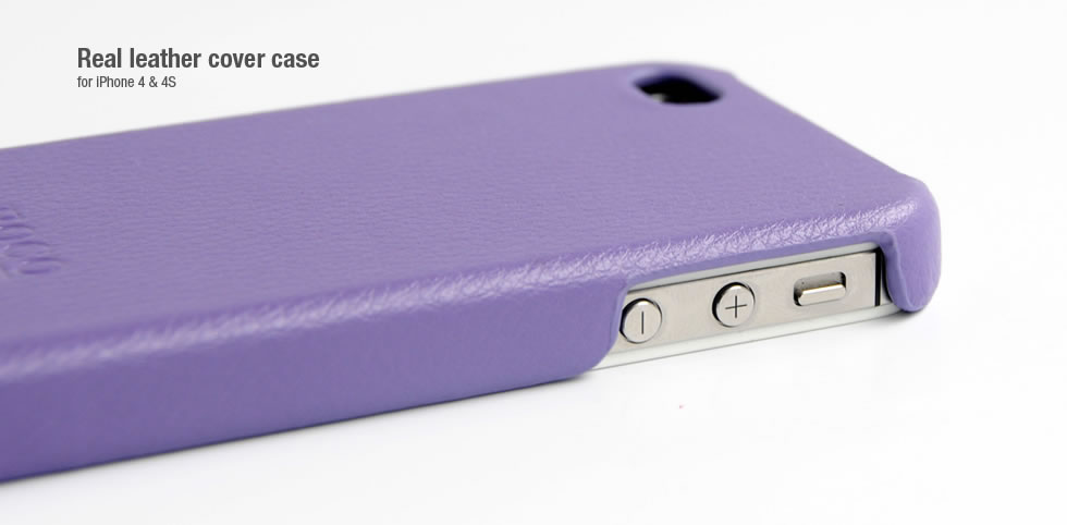 Фото: Чехол HOCO для iPhone 4/4S, Real Leather Cover Case, Purple (HI-BL001Pu)
