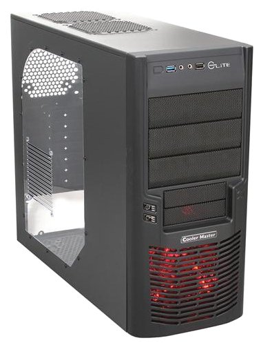 "Фото: Корпус CoolerMaster Elite 430 RC-430-KWN6 (WINDOW, LED, USB3.0), w/o PSU, ATX, MIDI TOWER, black, mesh, window, SGCC 0.6mm, 190x424x490mm, 4.7kg, Ext: 3x 5.25""/2x 3.5"", Int: 5x 3.5"", 1x USB3.0, 1x USB2.0, Audio, Fans: 1x 120mm LED, Opt fans"