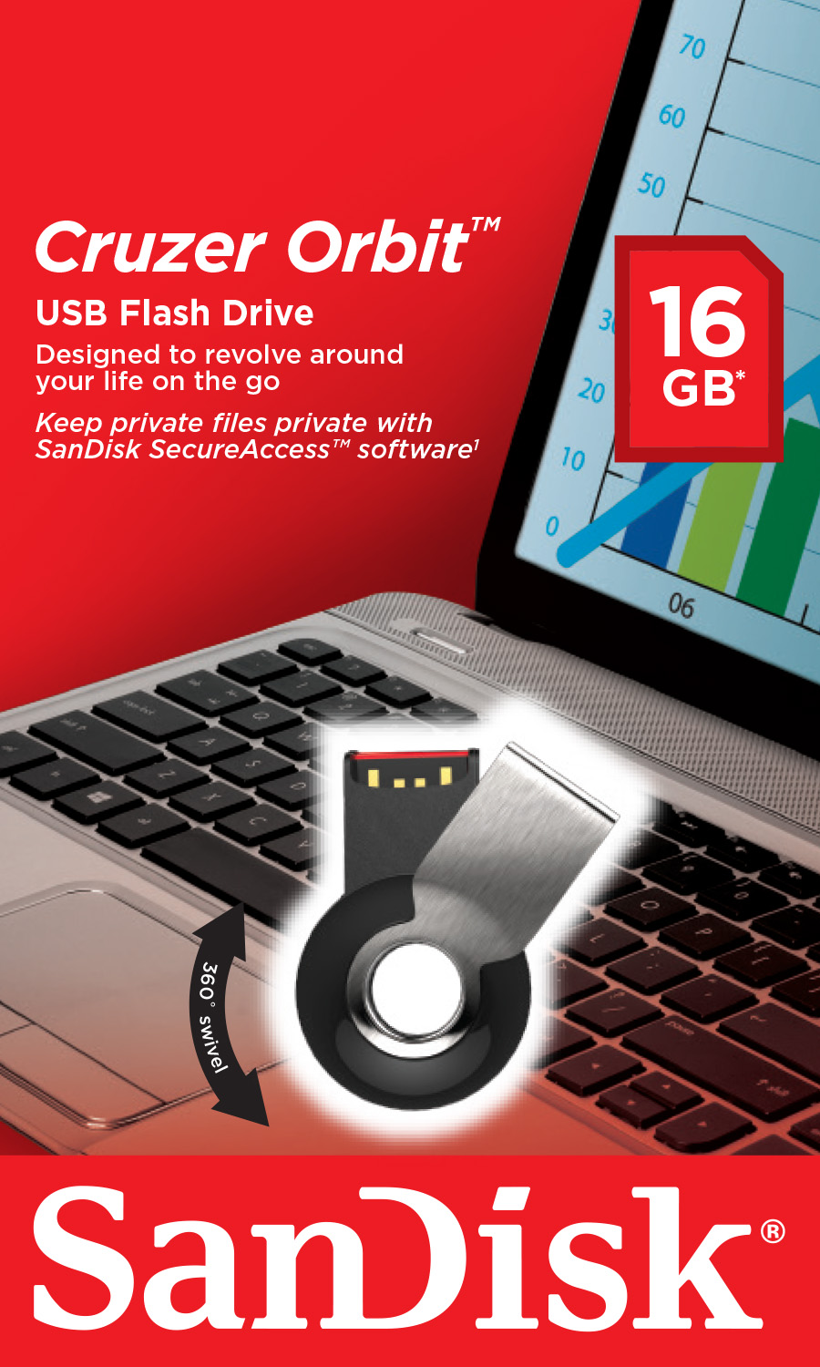 Фото: USB Flash Drive 16Gb SanDisk Cruzer Orbit / 15/10Mbps / SDCZ58-016G-B35