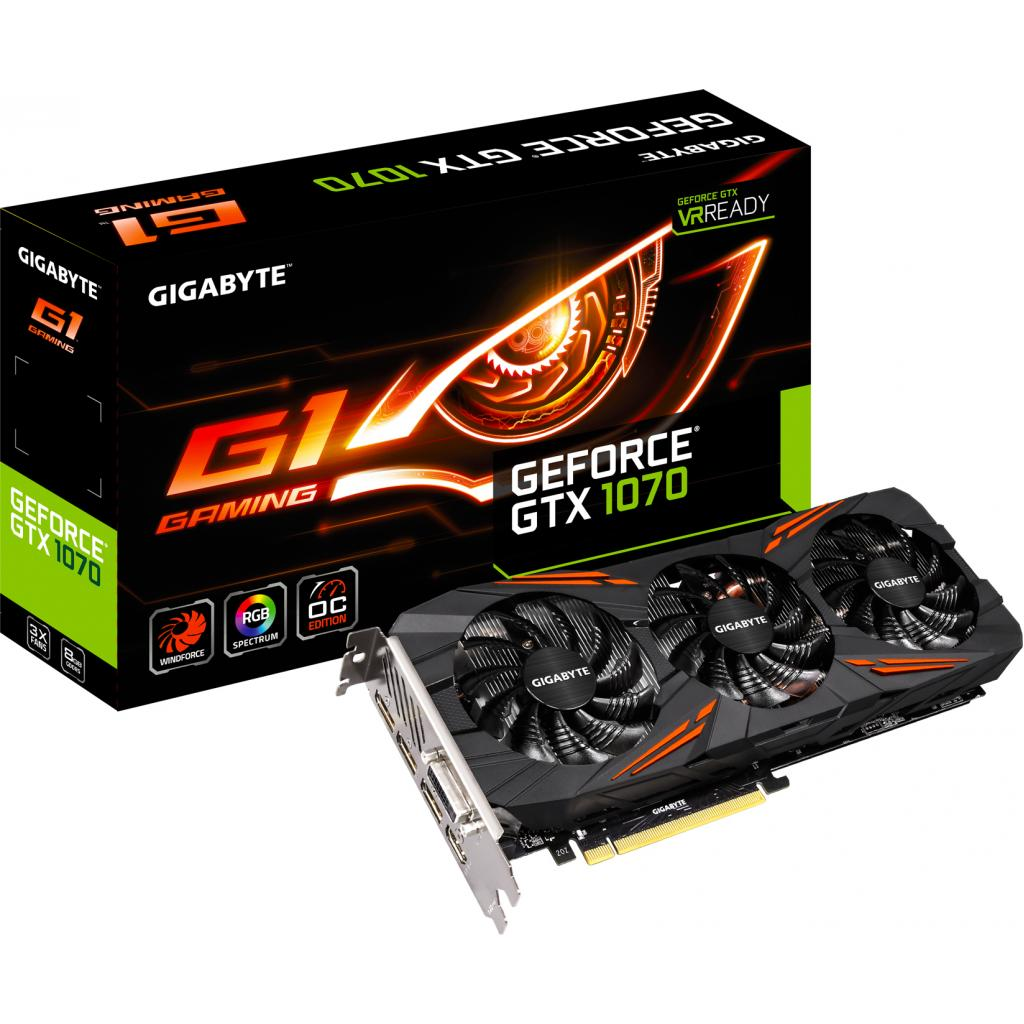 Фото: Видеокарта GIGABYTE GeForce GTX1070 8192Mb G1 GAMING (GV-N1070G1 GAMING-8GD)