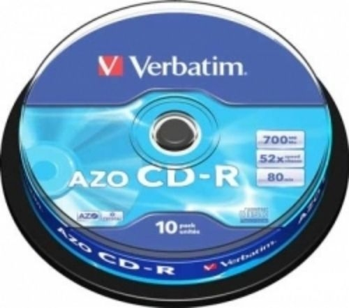 Фото: Диск CD-R 10 Verbatim, 700MB/80min, 52x, Cake Box (43437)