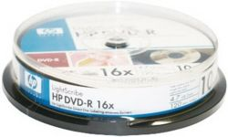 Фото: Диск DVD+R 10 HP, 4.7GB, 16x, LightScribe, Cake Box