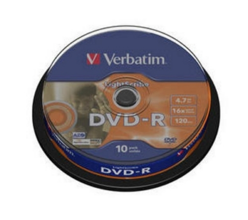 Фото: Диск DVD+R 10 Verbatim, 4.7GB, 16x, Cake Box (43576)