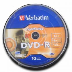 Фото: Диск DVD-R 10 Verbatim, 4.7GB, 16x, Cake Box (43643)