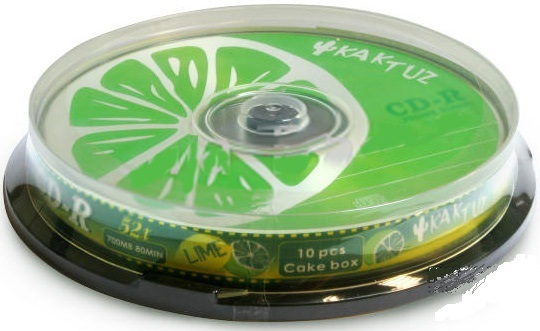 "Фото: Диск CD-R 10 Kaktuz ""Lime"" 700MB/80min 52X"