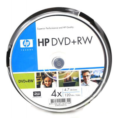 Фото: Диск DVD+RW 25 HP 4.7GB 4x (Cake Box)