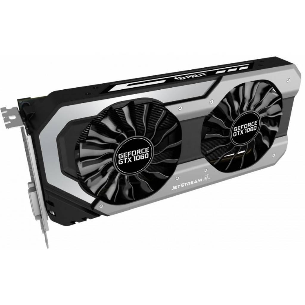 Видеокарта PALIT GeForce GTX1060 6144Mb Super JetStream  (NE51060S15J9-1060J) GDDR 5, 192 Bit, 1620 MHz, 8000 MHz, 3 x DisplayPort,  DVI, HDMI, кулер,