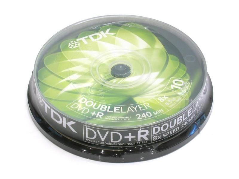 Фото: Диск DVD+R 10 TDK, 8.5GB (Double Layer), 8x, Cake Box