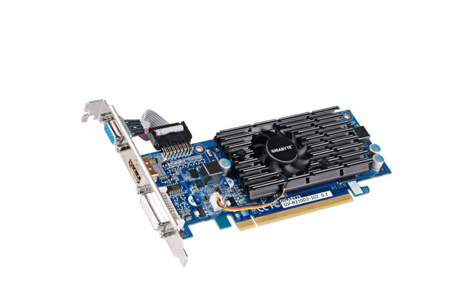 Фото: Видеокарта Gigabyte / GeForce 210 / 1Gb DDR3 / 64-bit / VGA, DVI, HDMI / Low Profile / 590/1200MHz / GV-N210D3-1GI