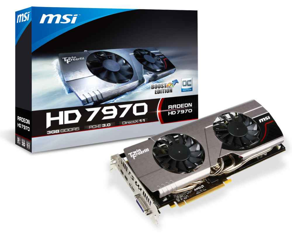Фото: Видеокарта MSI / Radeon HD7970 OC Boost Edition / 3Gb DDR5 / 384-bit / DVI, HDMI, 2xminiDP / 1050/5500 MHz / R7970 TF 3GD5/OC BE