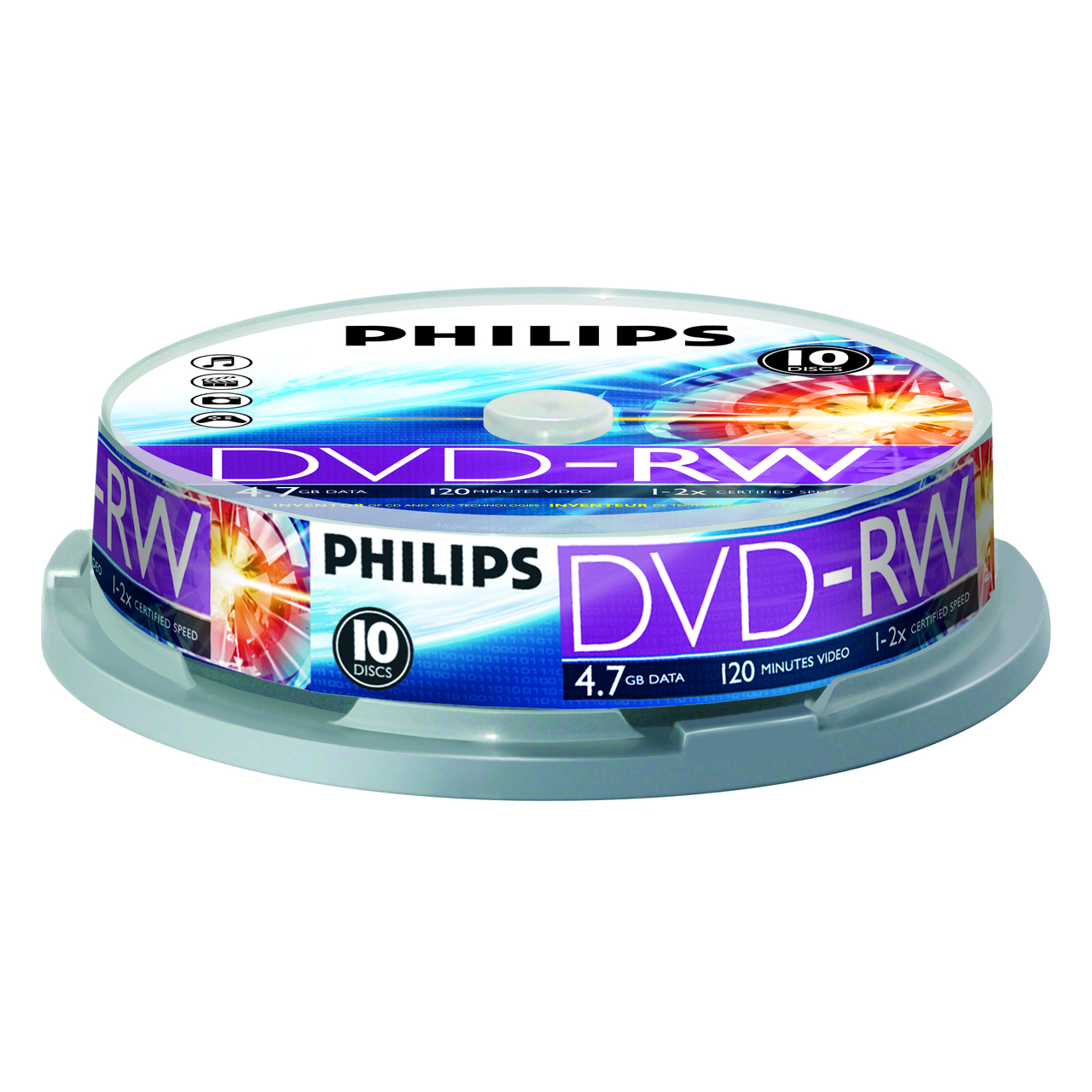 Фото: Диск DVD+RW 10 Philips, 4.7Gb, 4x, Cake Box