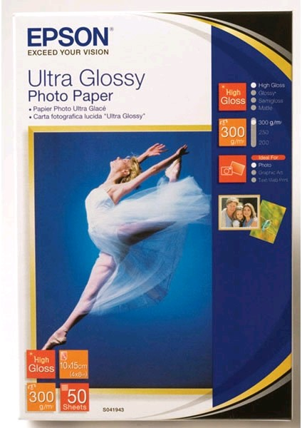 Фото: Фотобумага Epson Ultra Glossy Photo Paper, 130x180 мм, 300 г/м2, 50 л (C13S041944)