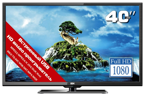 "Фото: Телевизор 40"" DEX LE4040 / LED Full HD 1920x1080 50Hz / VGA, 3 HDMI, Scart, USB (MKV, Movie) / VESA (200x200)"