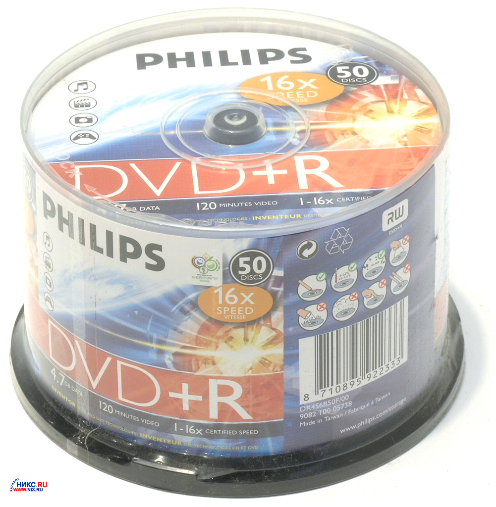Фото: Диск DVD+R 50 Philips, 4.7GB, 16x, Bulk Box