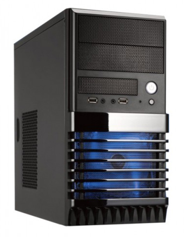 Фото: Корпус Logic HURRIER Minitower без БП mATX/mini ITX черный  12см RED LED fan HR03M(BK/BL)