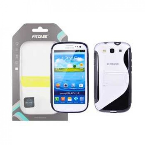 Фото: Накладка силиконовая FitCase TPU Sleeve for Samsung Galaxy S3 - Black/White (DCT-41BK)