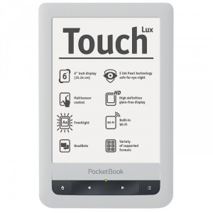 "Фото: Электронная книга 6"" PocketBook Touch Lux 623  Lux, серебристый PB623-S-WW"