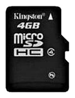 Фото: Карта памяти 4 Gb microSDHC, Kingston (KLSDC44GBSP)