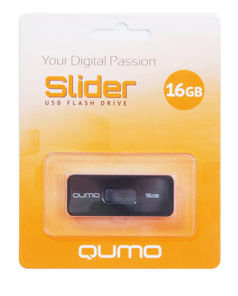 Фото: USB Flash Drive 16GB Qumo Slider 01 Black (QM16GUD-SLD 01-b) цвет корпуса черный