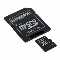 Карта памяти 16Gb microSDHC Kingston Class4 / SD адаптер / SDC4/16GB
